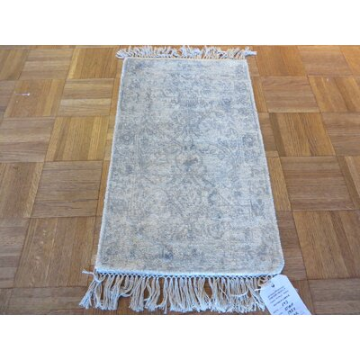 One-of-a-Kind Lamons Broken Hand-Knotted Wool Ivory Area Rug