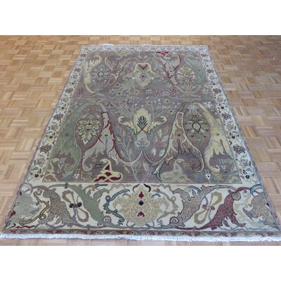 One-of-a-Kind Railey Persian Hand-Knotted Wool Brown Area Rug