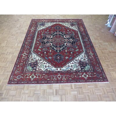 One-of-a-Kind Josephson Serapi Heriz Hand-Knotted Rayon from Bamboo Silk Rust Red Area Rug