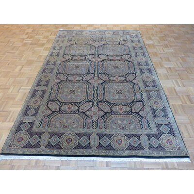 One-of-a-Kind Railey Persian Hand-Knotted Wool Black Area Rug