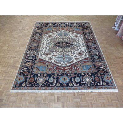 One-of-a-Kind Josephson Serapi Heriz Hand-Knotted Rayon from Bamboo Silk Ivory/Navy Blue Area Rug