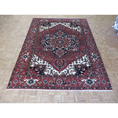 One-of-a-Kind Josephson Serapi Heriz Hand-Knotted Rayon from Bamboo Silk Brick Red Area Rug