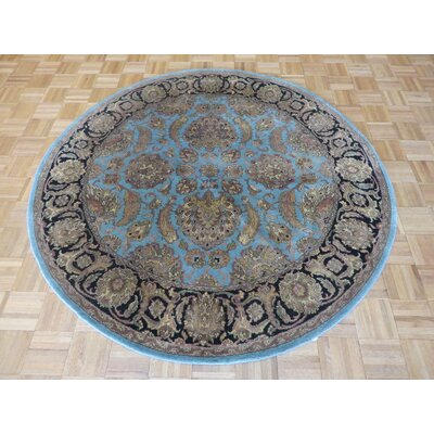 One-of-a-Kind Railey Hand-Knotted Wool Sky Blue/Black Area Rug