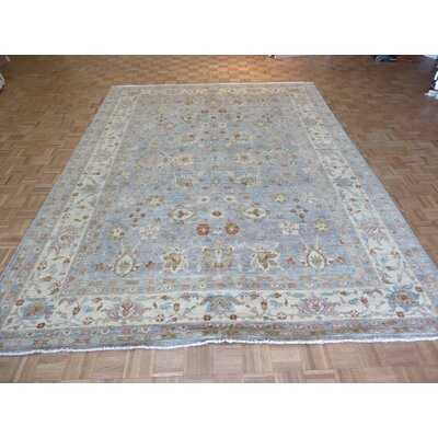 One-of-a-Kind Railsback Hand-Knotted Wool Grayish/Blue Area Rug