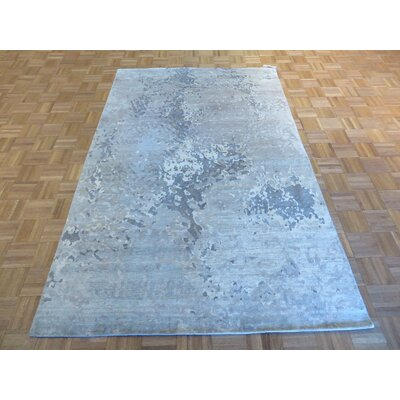 One-of-a-Kind Dickison Modern Broken Hand-Knotted Wool Gray Area Rug
