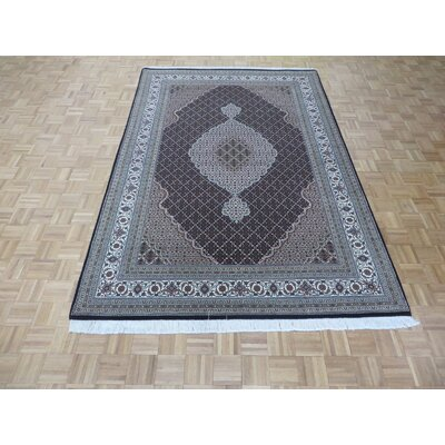 One-of-a-Kind Raiden Persian Hand-Knotted Wool Black/Ivory Area Rug