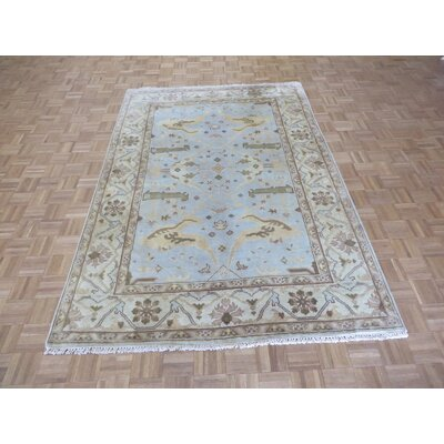 One-of-a-Kind Josephson Oushak Hand-Knotted Rayon from Bamboo Silk Sky Blue Area Rug