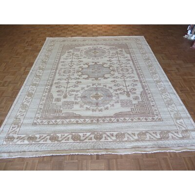 One-of-a-Kind Pafford Hand-Knotted Wool Ivory Area Rug