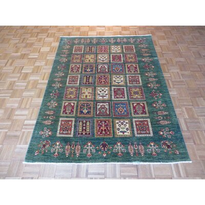 One-of-a-Kind Padula Tribal Super Hand-Knotted Wool Green Area Rug