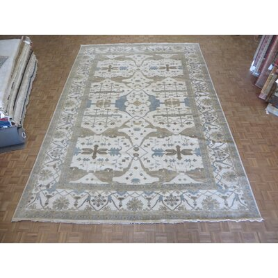 One-of-a-Kind Josephson Turkish Oushak Hand-Knotted Wool Ivory Area Rug