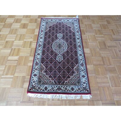 One-of-a-Kind Raiden Persian Hand-Knotted Wool Red Area Rug Rug Size: Rectangle 26 x 49