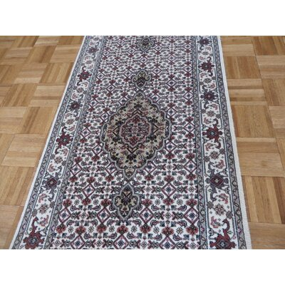 One-of-a-Kind Raiden Hand-Knotted Wool Ivory Area Rug Rug Size: Runner 26 x 21