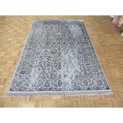 One-of-a-Kind Paden Hand-Knotted Gray Area Rug Rug Size: Rectangle 6 x 92