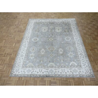 One-of-a-Kind Rhyne Grayish Oushak Hand-Knotted Grayish Blue Area Rug