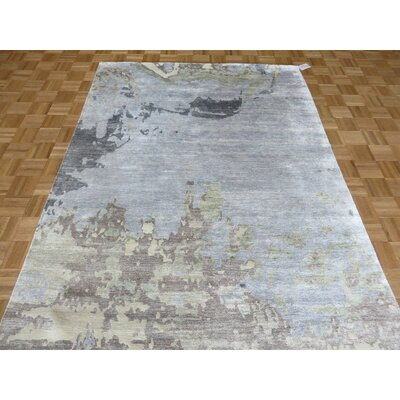 One-of-a-Kind Padang Sidempuan Modern Abstract Hand-Knotted Wool Sky Blue Area Rug Rug Size: Round 52 x 52
