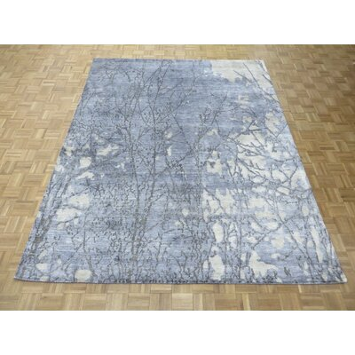 One-of-a-Kind Pellegrino Modern Abstract Hand-Knotted Sky Blue Area Rug Rug Size: Rectangle 6 x 9