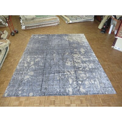 One-of-a-Kind Padang Sidempuan Modern Hand-Knotted Grayish Blue Area Rug