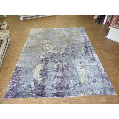 One-of-a-Kind Pellegrino Modern Abstract Hand-Knotted Sky Blue/Gray Area Rug