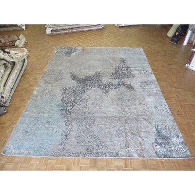 One-of-a-Kind Pellegrino Modern Abstract Hand-Knotted Wool Blue/Gray Area Rug Rug Size: Rectangle 10 x 14