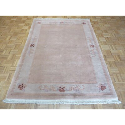 One-of-a-Kind Pellegrino Chinese Art Deco Hand-Knotted Wool Soft Pink Area Rug