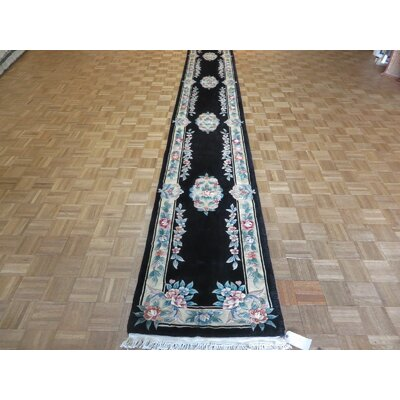 One-of-a-Kind Pellegrino Chinese Art Deco Hand-Knotted Black Area Rug