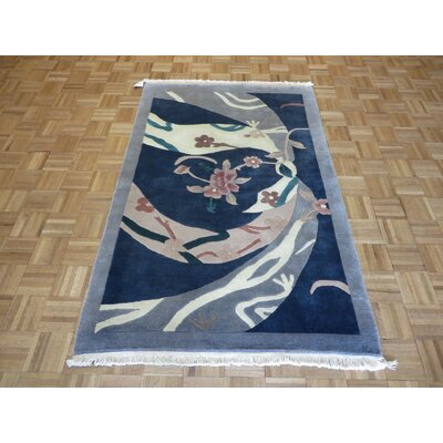 One-of-a-Kind Pellegrino Chinese Art Deco Hand-Knotted Blue Area Rug