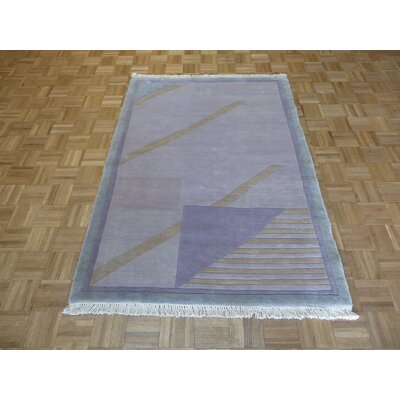 One-of-a-Kind Pellegrino Chinese Art Deco Hand-Knotted Purple Area Rug