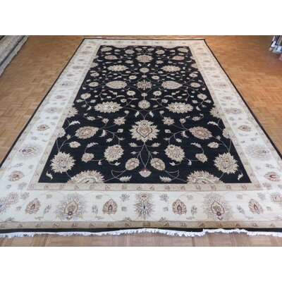 One-of-a-Kind Railey Peshawar Oushak Hand-Knotted Black Area Rug