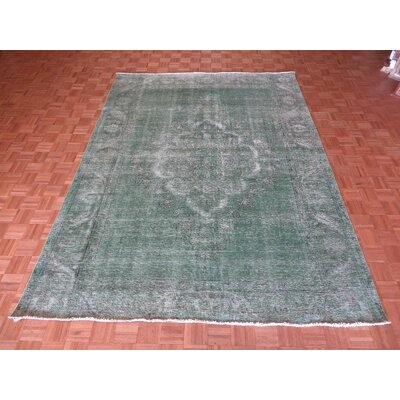 One-of-a-Kind Padro Hand-Knotted Light Green Area Rug