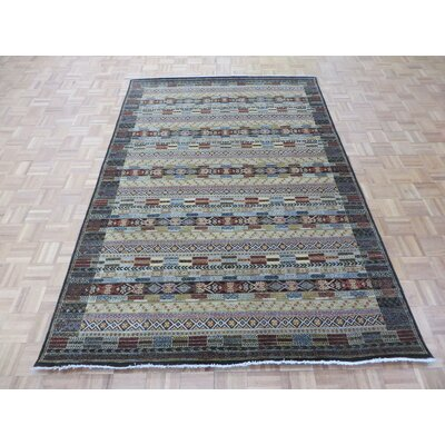 One-of-a-Kind Padula Gabbeh Hand-Knotted Wool Black/Brown Area Rug Rug Size: Rectangle 6 x 811