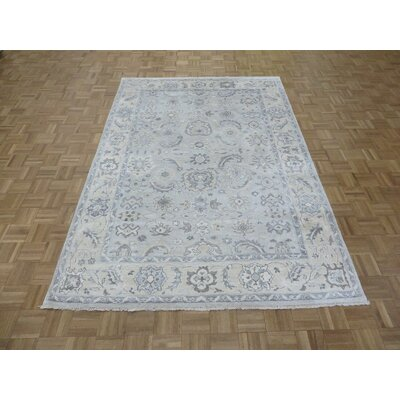 One-of-a-Kind Josephson Turkish Oushak Hand-Knotted Soft Aqua Blue Area Rug