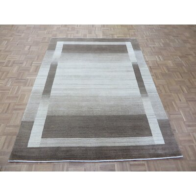 One-of-a-Kind Elbridge Modern Hand-Knotted Wool Ivory/Brown Area Rug