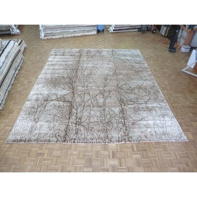 One-of-a-Kind Padang Sidempuan Modern Hand-Knotted Wool Ivory/Brown Area Rug