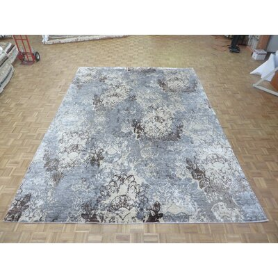 One-of-a-Kind Josephson Modern Abstract Hand-Knotted Wool Sky Blue Area Rug Rug Size: Rectangle 91 x 121