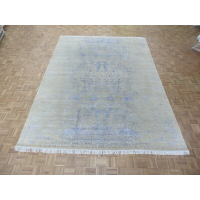One-of-a-Kind Josephson Modern Abstract Hand-Knotted Wool Ivory/Silver Area Rug