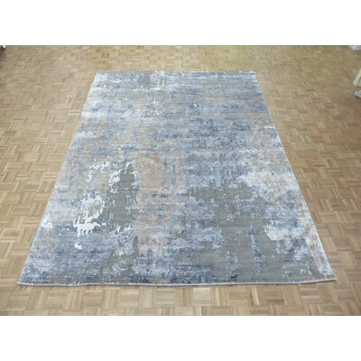 One-of-a-Kind Josephson Modern Abstract Hand-Knotted Wool Gray Area Rug