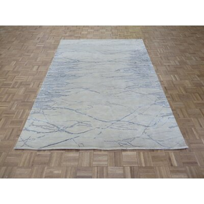 One-of-a-Kind Josephson Modern Hand-Knotted Wool Ivory/Gray Area Rug