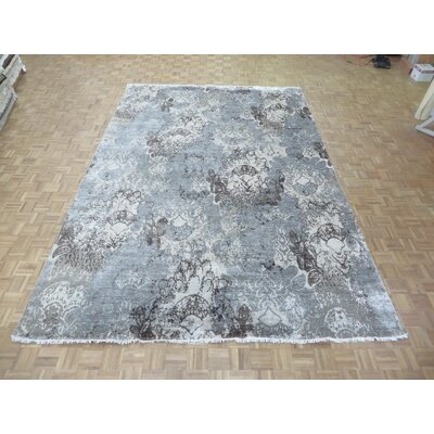 One-of-a-Kind Pellegrino Modern Abstract Hand-Knotted Gray Area Rug Rug Size: Rectangle 98 x 14