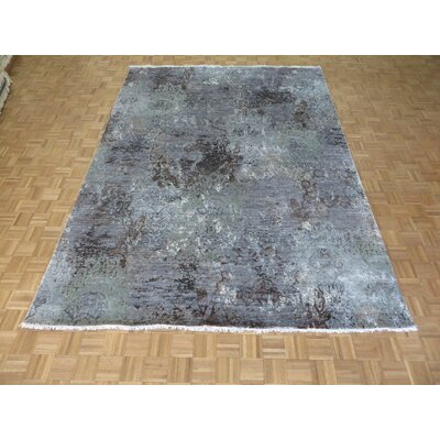 One-of-a-Kind Pellegrino Modern Abstract Hand-Knotted Wool Sky Blue Area Rug
