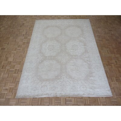 One-of-a-Kind Railsback Khotan Hand-Knotted Soft Beige Area Rug