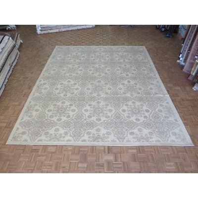 One-of-a-Kind Railsback Oushak Hand-Knotted Silk Ivory Area Rug