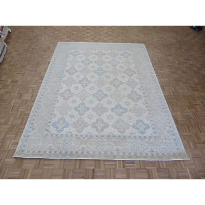One-of-a-Kind Josephson Peshawar Khotan Oushak Hand-Knotted Rayon from Bamboo Silk Ivory Area Rug