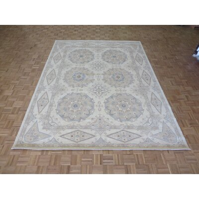 One-of-a-Kind Railsback Khotan Oushak Hand-Knotted Wool Ivory Area Rug