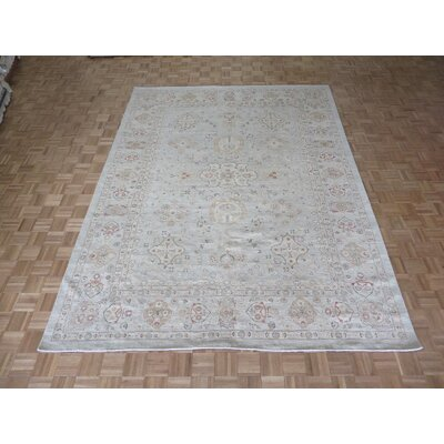 One-of-a-Kind Railsback Oushak Hand-Knotted Rayon from Bamboo Sky Blue Area Rug