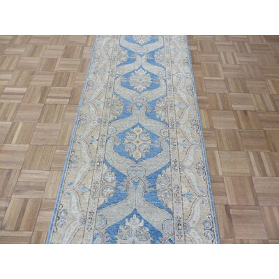 One-of-a-Kind Railsback Oushak Hand-Knotted Wool Blue Area Rug