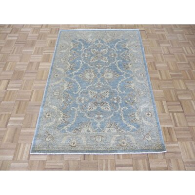 One-of-a-Kind Railsback Oushak Hand-Knotted Rayon from Bamboo Blue Area Rug