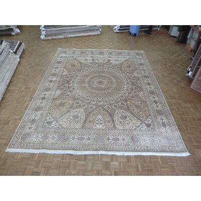 One-of-a-Kind Padro Gombad Hand-Knotted Wool Ivory Area Rug Rug Size: Rectangle 89 x 12