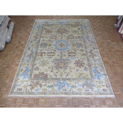 One-of-a-Kind Pellegrino Oushak Hand-Knotted Ivory Area Rug