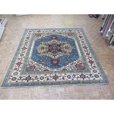 One-of-a-Kind Rhyne Serapi Heriz Hand-Knotted Light Blue Area Rug