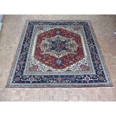 One-of-a-Kind Rhyne Serapi Heriz Hand-Knotted Wool Rust Red Area Rug